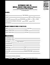 Watermarks Camp Medical Consent Form